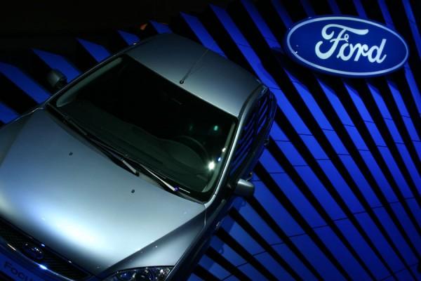 Sliding blue Ford