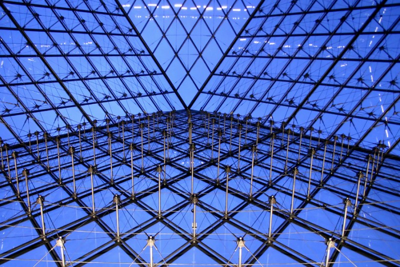 Inside pyramid at the Louvre