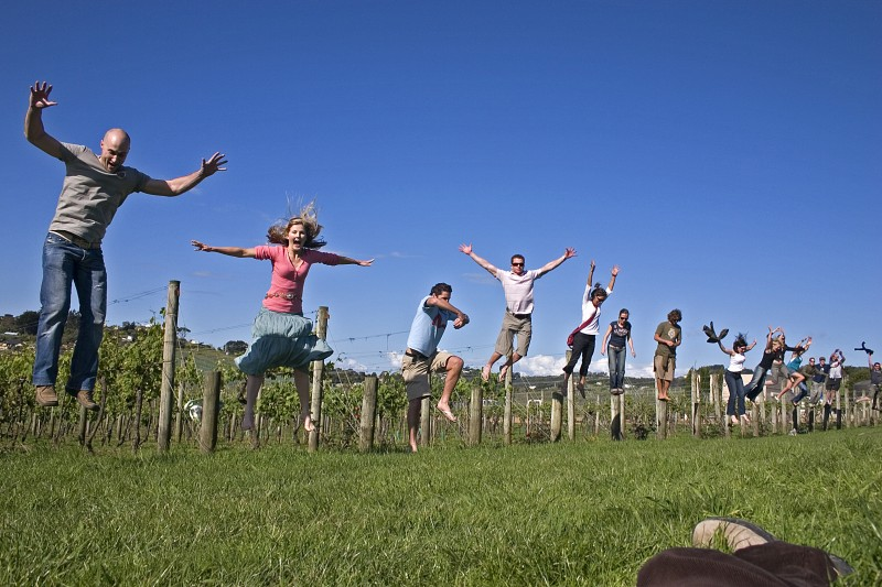Jumping off the poles at the vineyard
