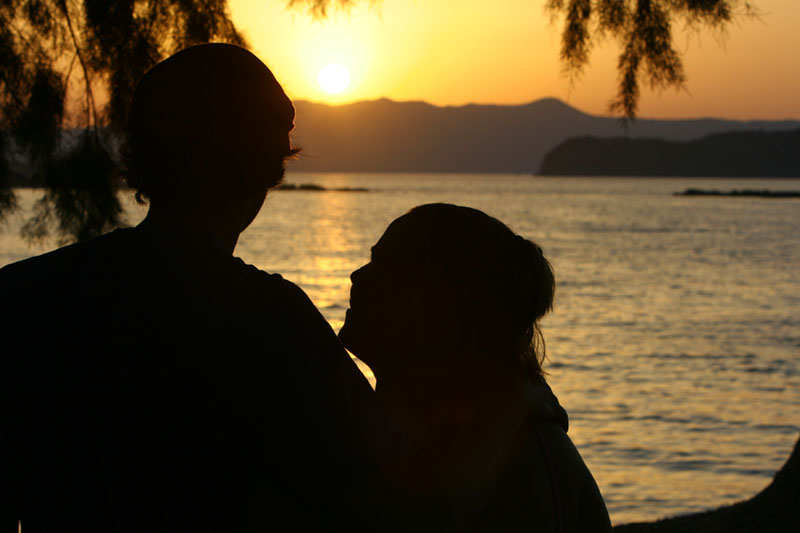 Lovers Crete Agii Apostoli Beach Sunset