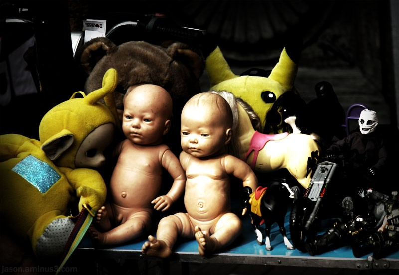 creepy baby doll toy table