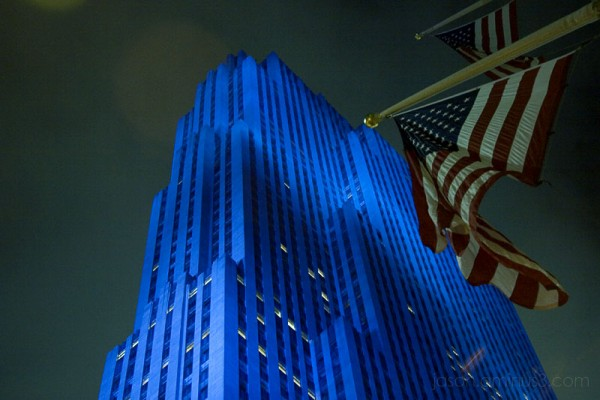 Blue Building and US Flag