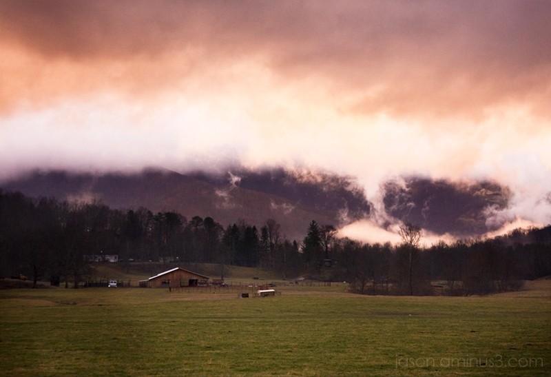 black mountain pasture plume sunset