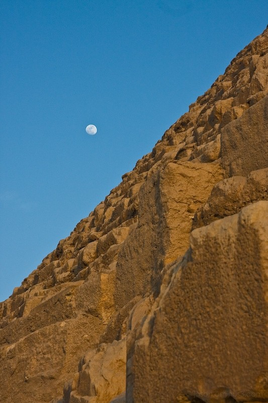 great pyramid and moon