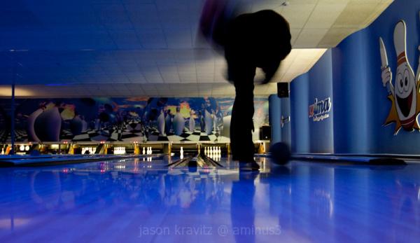 blue bowling lane