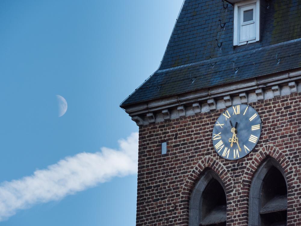 church clock moon