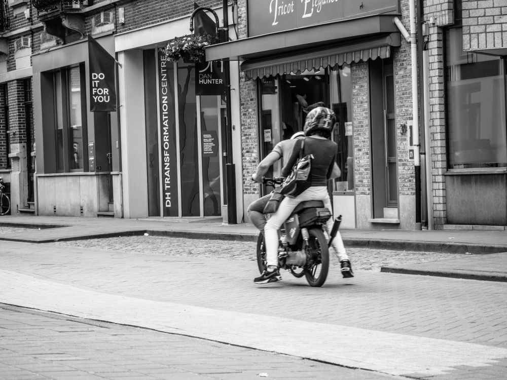 couple on motorcycle in Belgium