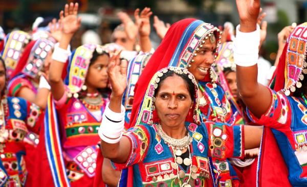 Rajasthani folk dancers at Secunderabad Carnival.