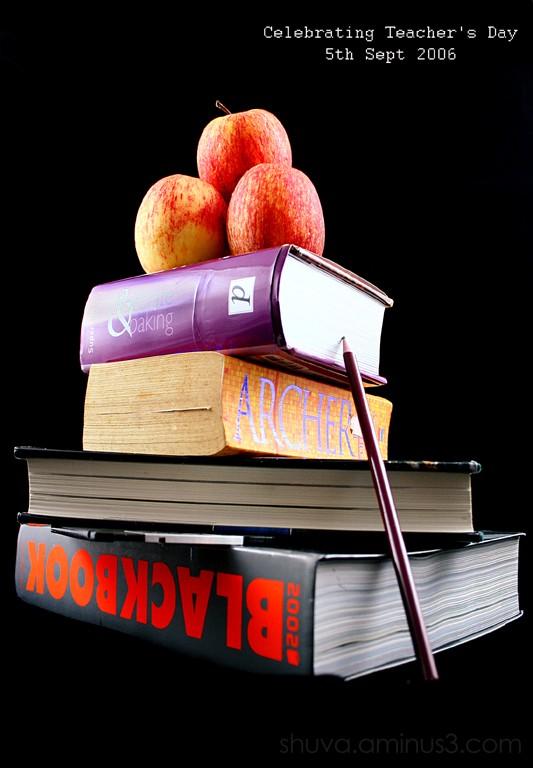 books apple teacher's day book arrangement