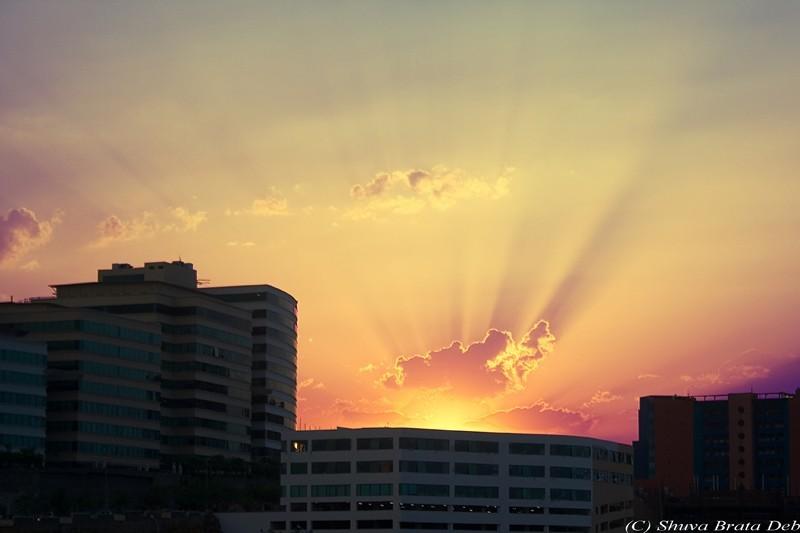 Sunset over Hitec City, Hyderabad
