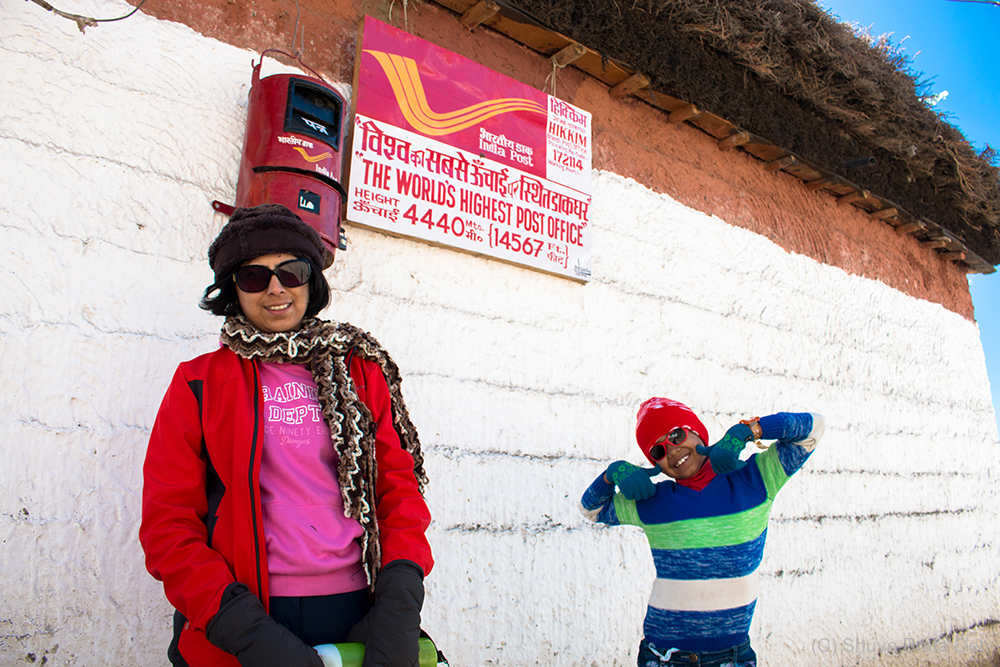 Lipika and Tisha at highest post office of world.