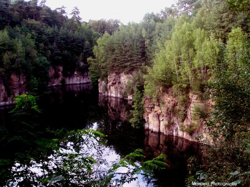 lake, shore, water, stone, sand, quarry