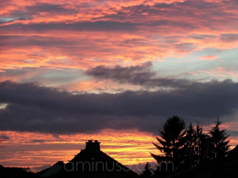 sunset sky horizon dusk evening clouds