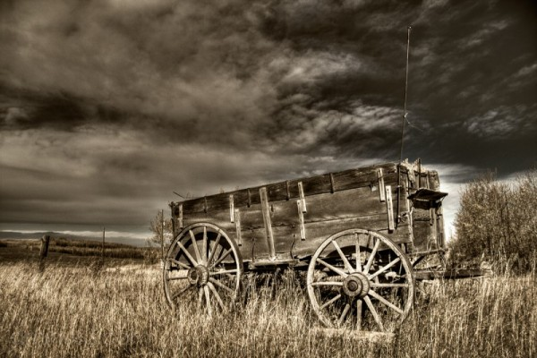 An uncovered wagon