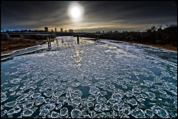 Ice forming on River