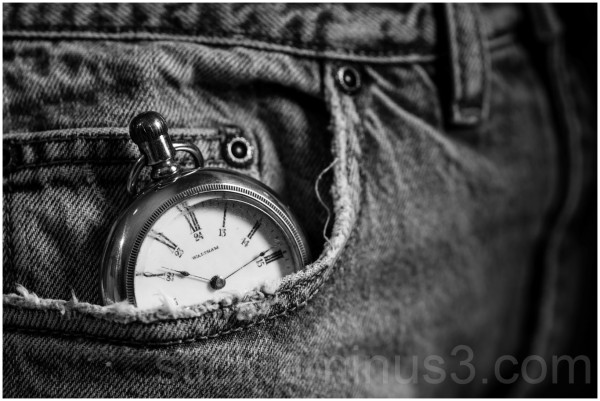Pocket-watch in a jean pocket