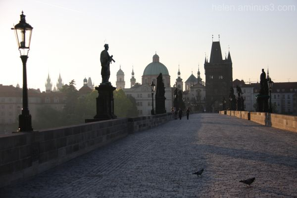 Early birds on the Charles Bridge - Prague