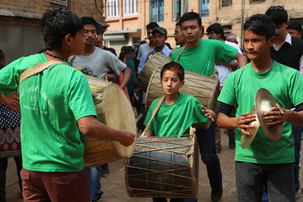 Bisket Jatra festival drummers - Bhaktapur