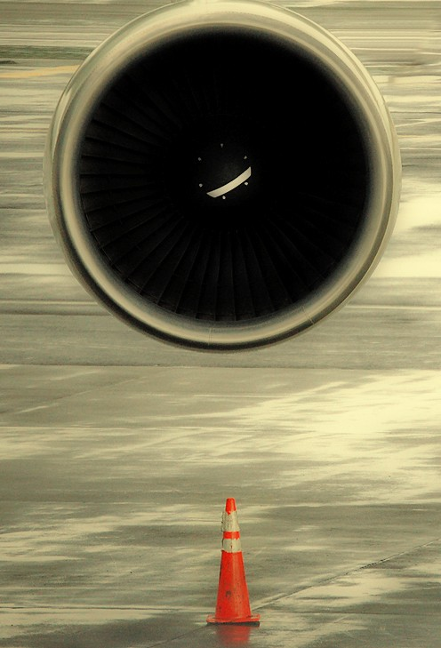 747 engine and safety cone.