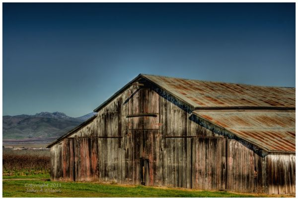 Barn in Salinas Valley, Pinnacles in Background