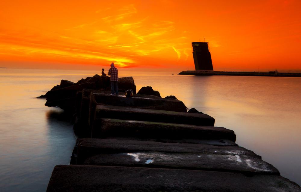 lisboa sunset mar algés