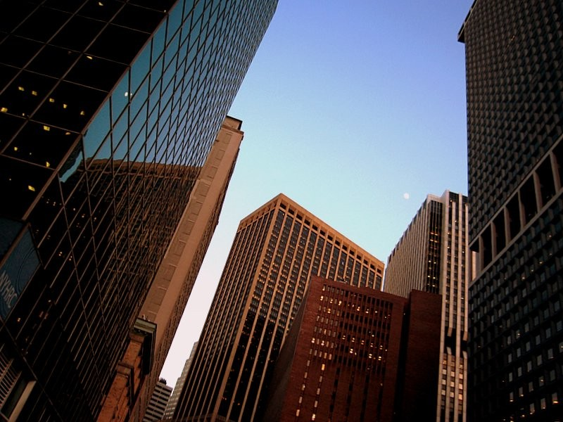 moon over financial district- Manhattan.