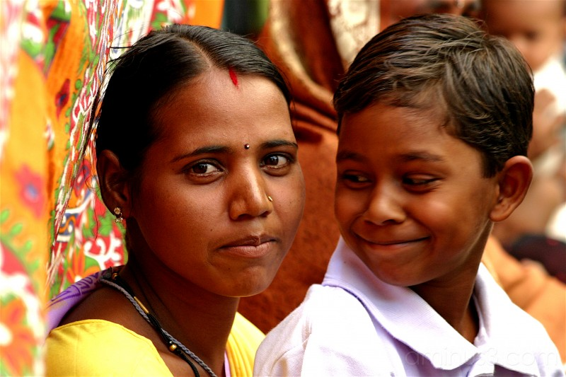 Smiling Indian Siblings
