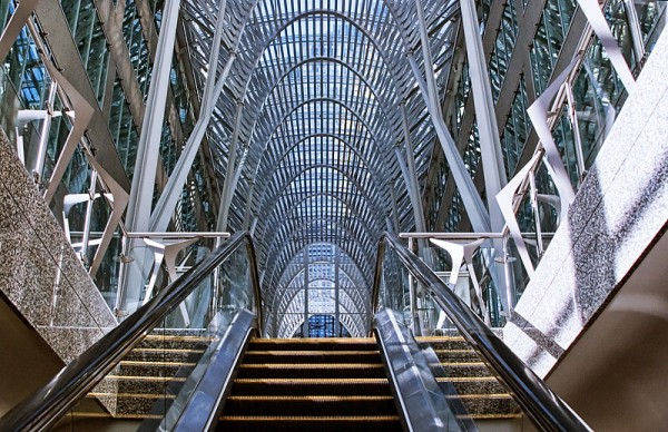 Escalator view of BCE Place in Toronto