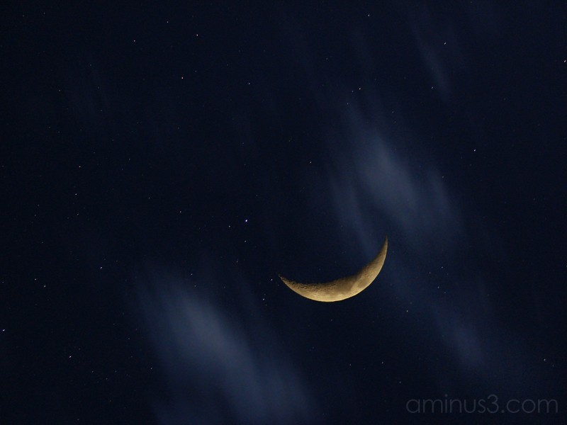Waxing Crescent Moon w/Stars and Clouds