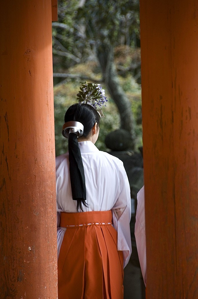 A miko at Kasuga Taisha.