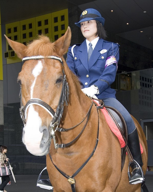A mounted police officer in Kyoto.