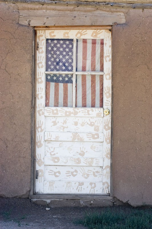 A patriotic door at Taos Pueblo.