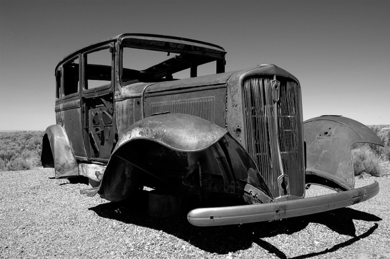 An old car body along Route 66 in Arizona.