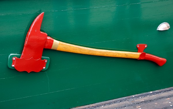 An emergency axe on a tugboat.