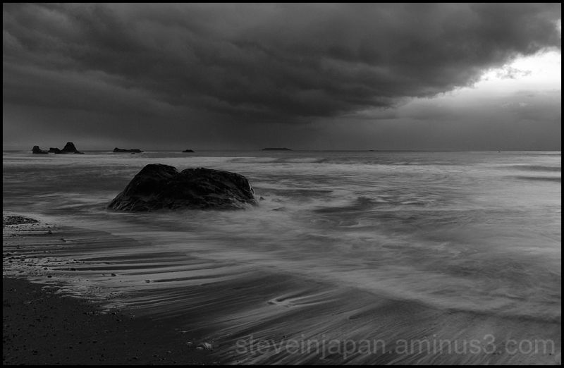 An approaching snow storm at Ruby Beach, WA, USA.