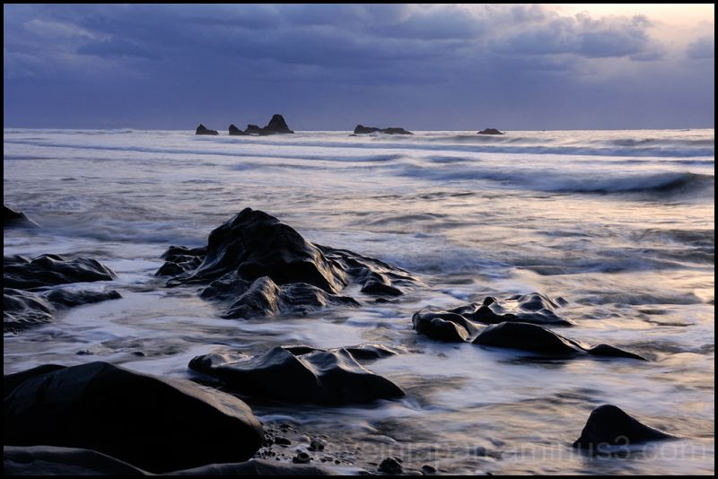 Wave washed rocks at Ruby Beach.