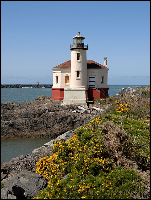 The Coquille River Lighthouse in Oregon, USA.