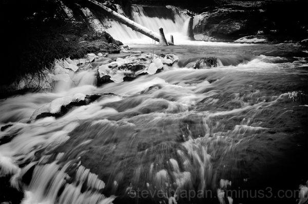 Tumwater Falls in Tumwater, WA in ice.