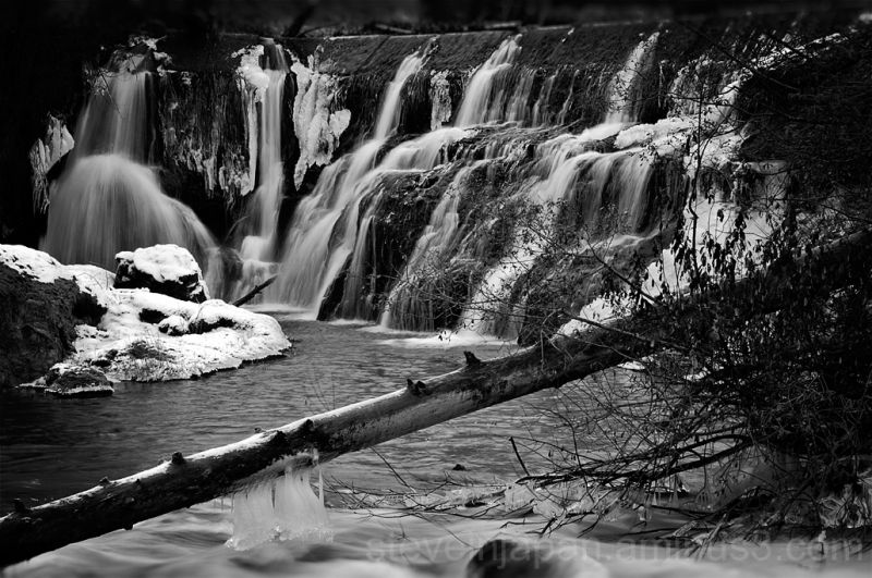 Tumwater Falls in Tumwater, WA in ice.