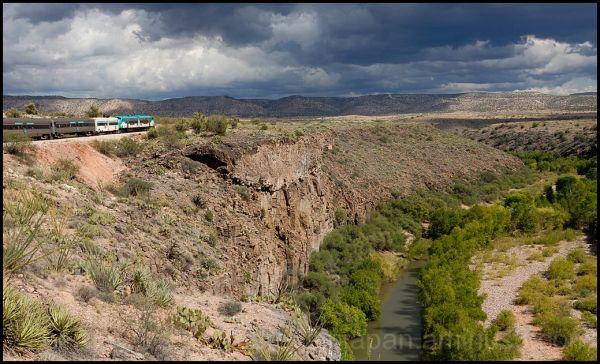 The train progresses into the Verde Canyon.