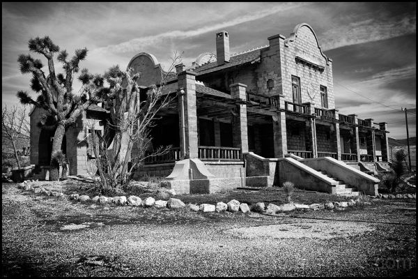The railroad depot in Rhyolite, Nevada.