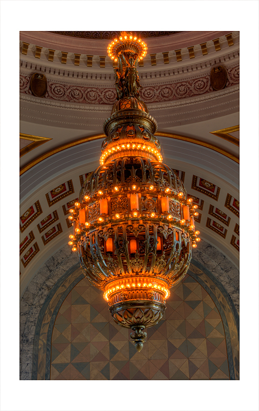 The Tiffany chandelier in the rotunda.