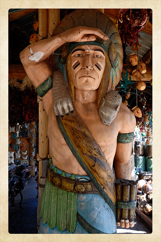 A cigar store Indian at a tourist trap in Sedona.