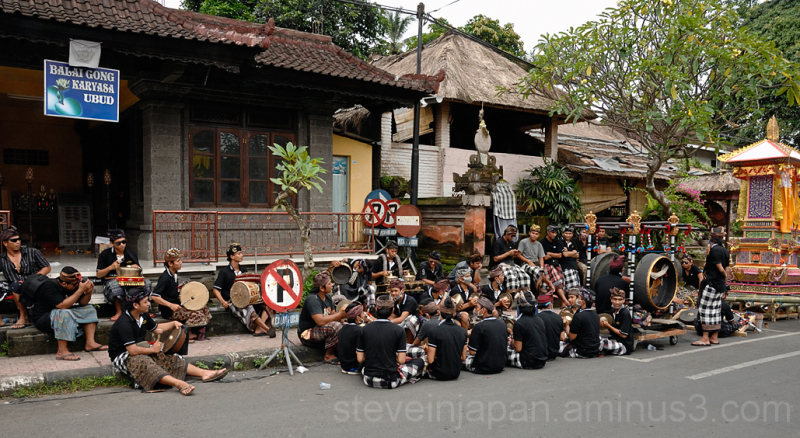 Band practice along the street in Ubud, Bali.