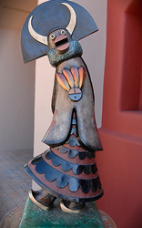 A bronze sculpture of Shalako in Sedona, AZ.