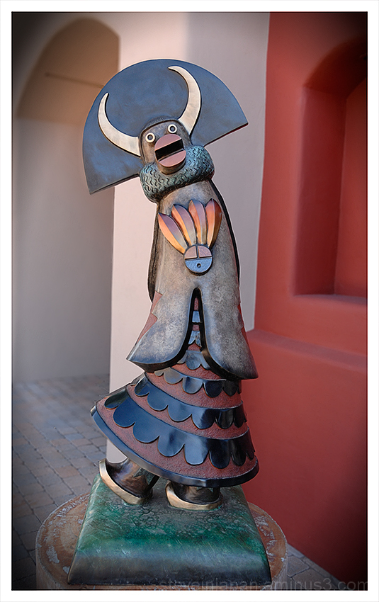 A bronze sculpture of Shalako in Sedona, AZ.