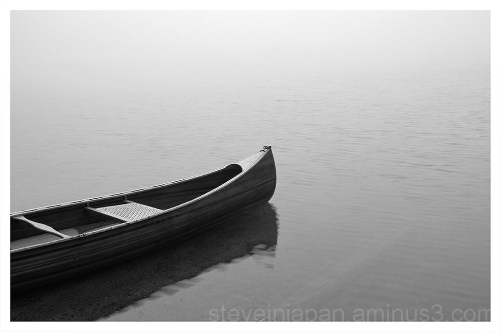 Thick fog on Takhlakh Lake.