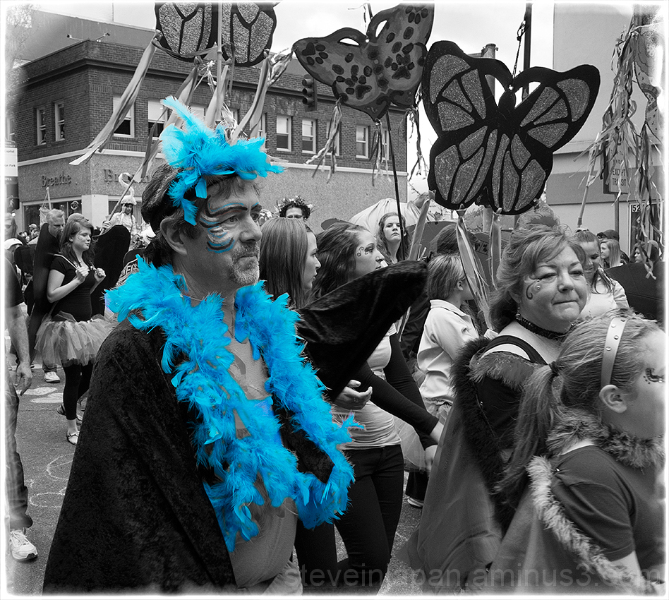 A blue bird at the Procession of the Species.