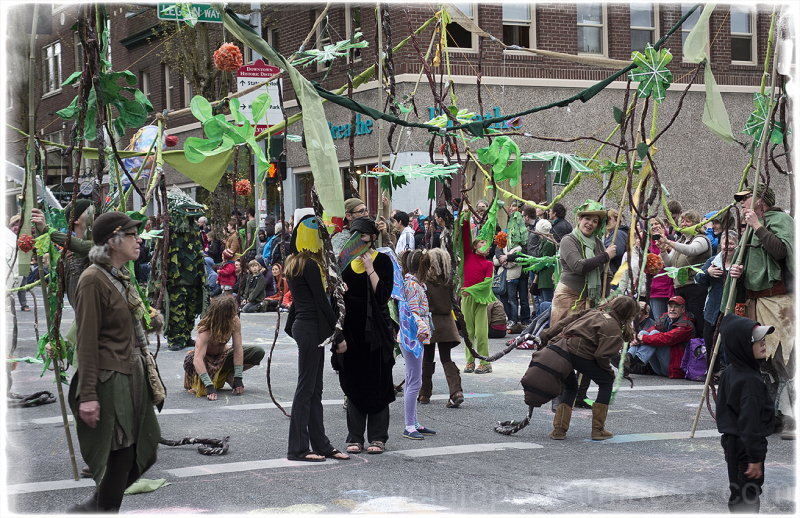 A jungle scene at the Procession of the Species.