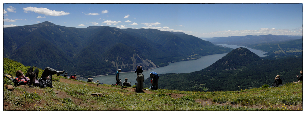A panorama from the top of Dog Mountain.